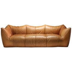 Mario Bellini 'Le Bambole' Three-Seat Couch in Tan Leather