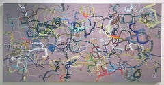 """Large Scale Abstract Oil on Canvas """"Life is Man's Best Friend (not a dog),"""""""