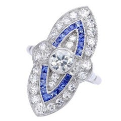 Marquise Diamond and Calibrated Sapphire Platinum Ring