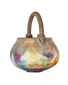 """""""Raku Basket with Handle,"""" Multi-colored Ceramic signed by Marty Marcus"""