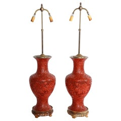 Marvelous Pair of Hand Carved Antique Chinese Cinnabar Vases Mounted as Lamps