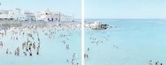 Santa Maria al Bagno - Diptych - large scale Mediterranean beach scene (framed)