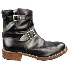 MASTERMIND JAPAN Size 10 Black Contrast Stitch Leather Belted Ankle Boots