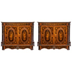 Matched Pair of 19th Century Louis XVI Style Floral Marquetry Side Cabinets