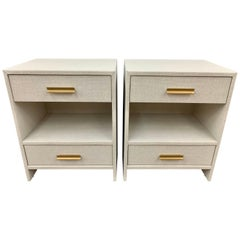 Matching Pair of Custom Linen Wrapped Two-Drawer Nightstands
