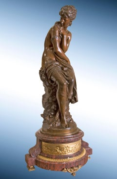 19th Century sculpture of seated Female Nymph in Bronze, with red Marble Base