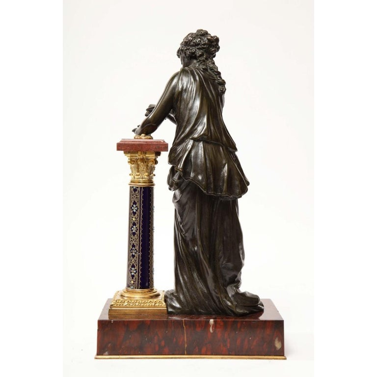 Exquisite French Bronze, Rouge Marble, and Sèvres Style Porcelain Sculpture For Sale 8