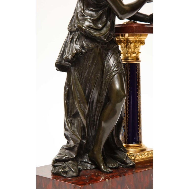 Exquisite French Bronze, Rouge Marble, and Sèvres Style Porcelain Sculpture For Sale 11