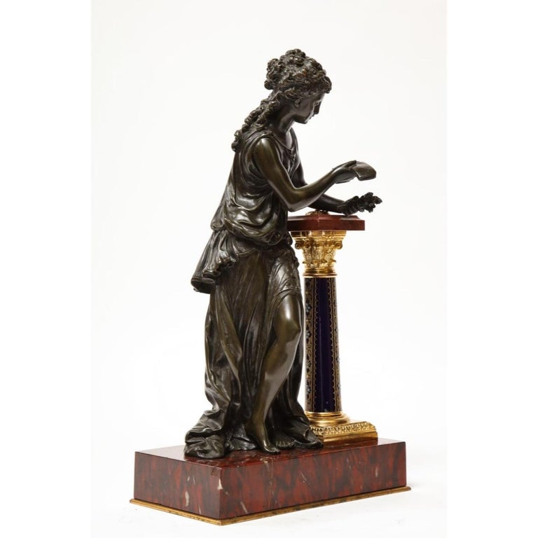 Exquisite French Bronze, Rouge Marble, and Sèvres Style Porcelain Sculpture For Sale 12