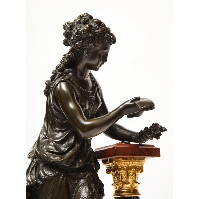 Exquisite French Bronze, Rouge Marble, and Sèvres Style Porcelain Sculpture For Sale 13
