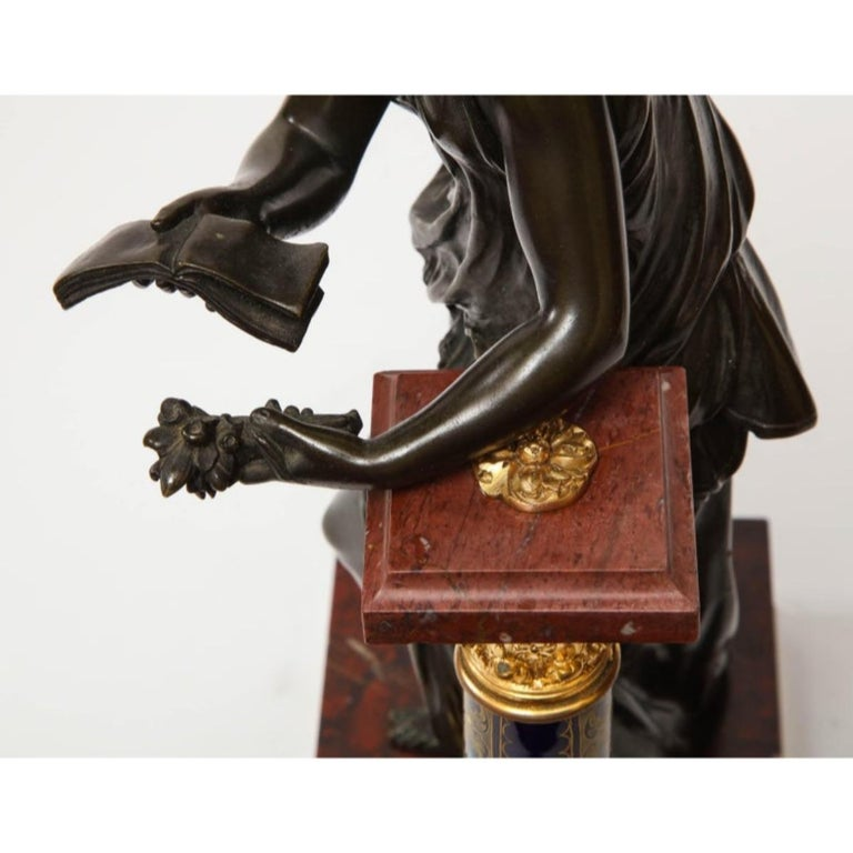 Exquisite French Bronze, Rouge Marble, and Sèvres Style Porcelain Sculpture For Sale 17