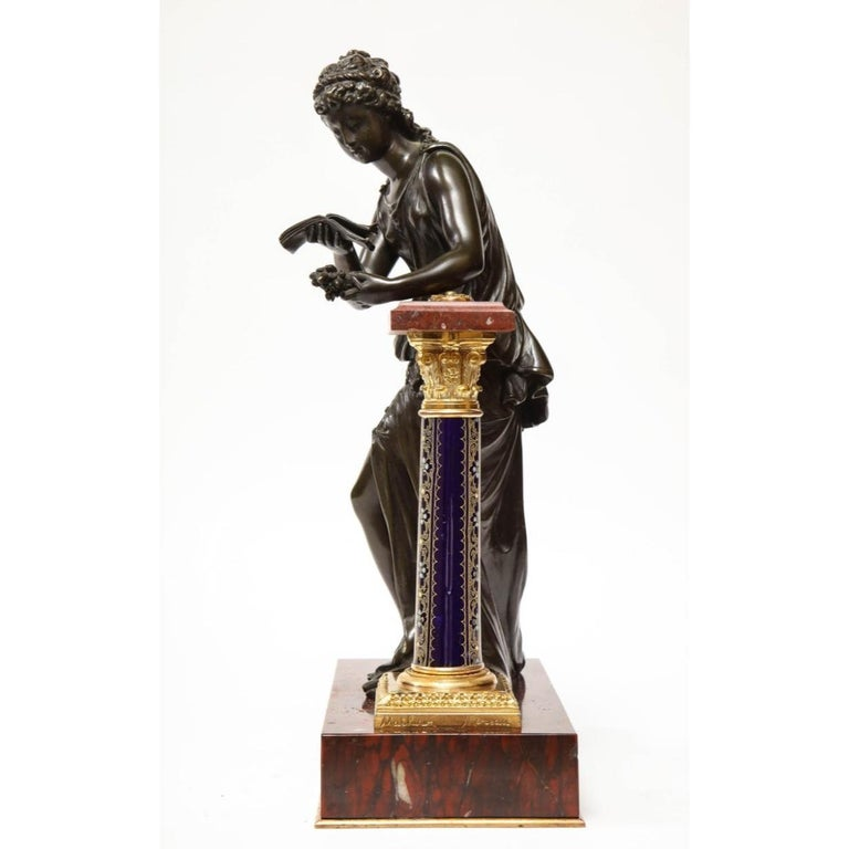 Exquisite French Bronze, Rouge Marble, and Sèvres Style Porcelain Sculpture For Sale 4