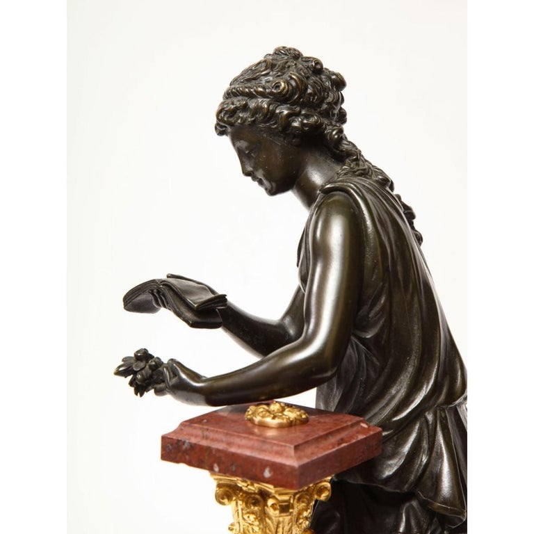 Exquisite French Bronze, Rouge Marble, and Sèvres Style Porcelain Sculpture For Sale 6