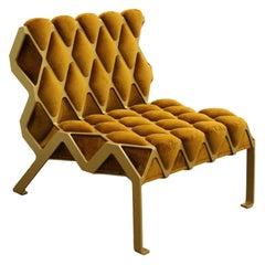 Matrice handmade Chair in Gold Steel and Gold Velvet customizable indoor outdoor