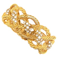 Mauboussin 18 Karat Gold and Diamond Twisted Rope Motif Bracelet