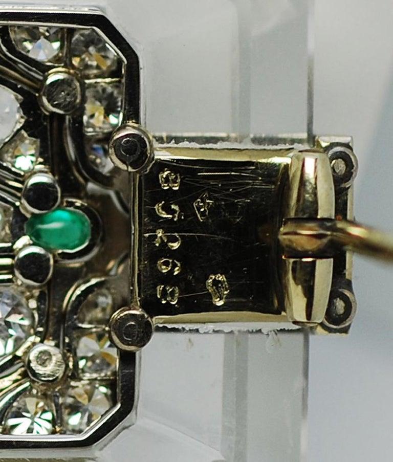 Mauboussin Rock Crystal Diamond Emerald and Black Enamel Art Deco Brooch; Mauboussin; French; Ca 1927