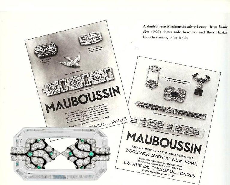 Old European Cut Mauboussin Art Deco Rock Crystal and Diamond Brooch, circa 1927 For Sale