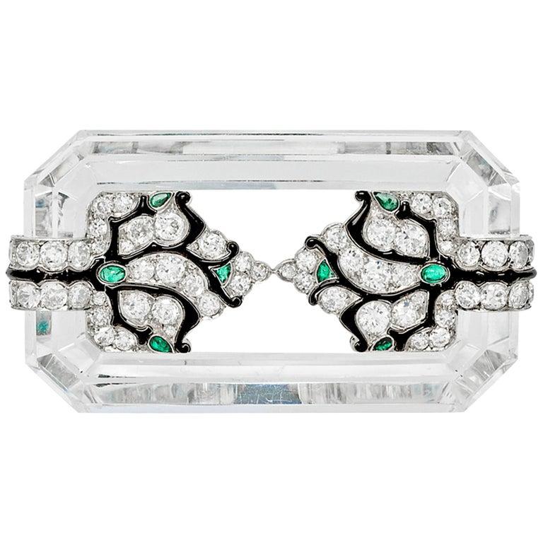 Mauboussin Art Deco Rock Crystal and Diamond Brooch, circa 1927 For Sale