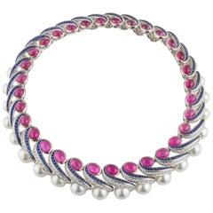 Mauboussin Multi-Gemstone Diamond and Sapphire Choker Necklace