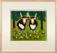 Two Oxen in Spring with Blue and Red Tulips