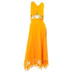 Maurizio Galante Marigold Yellow 1990s Cutwork Skirt & Crop Top 2Pc Dress