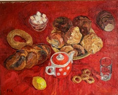"""Tea time""Red, sweet, oil cm. 65 x 52 Offer Free Shipping"