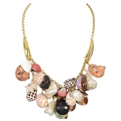 Maz Gold Links Necklace with Gem Studded Seashells