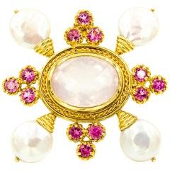 Maz Tourmaline Rose Quartz Pearl 14 Karat Gold Yellow Brooch Pin Pendant