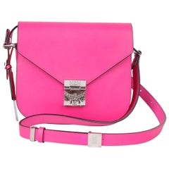 MCM Electric Pink Patricia Calfskin Crossbody Bag
