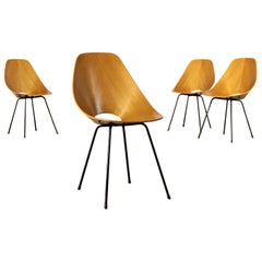 Medea Chairs, Plywood and Metal, Italy, 1950s-1960s