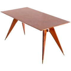 Melchiorre Bega Dining Table in Walnut and Brass, Italy, Early 1950s