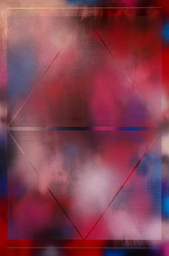 Cascadia 9 (grid painting abstract geometry contemporary pink red optical)