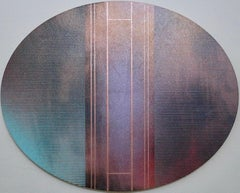 Mangata 53 Oval (circular tondo panel gold grid abstract wood Art Deco op art)