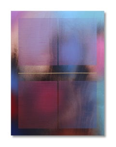 Mangata XVII (small scale grid spray painting abstract wood contemporary op art)