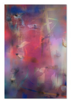 Turbulence 22 (grid painting abstract wood contemporary pink blue contemporary)