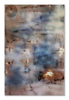 Turbulence 4 (grid painting abstract wood contemporary art neutrals large panel