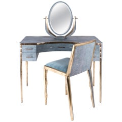 Melting Vanity Table in Blue Shagreen and Bronze-Patina Brass by R & Y Augousti