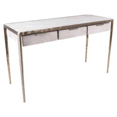 """Melting"" Writing Desk in Cream Shagreen and Bronze-Patina Brass by R&Y Augousti"