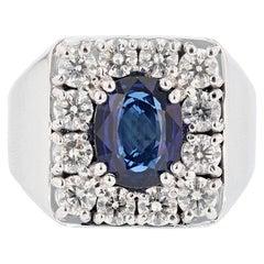 Men's GIA Certified 14 Karat Gold 4.23 Carat Cushion Cut Sapphire Diamond Ring