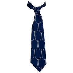 Men's Navy Silk Fish Hook Nautical Motif Necktie – Chicago, 1970s