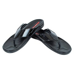 Men's Prada Black Patent Leather Flip Flop Thong Sandals - 21st Century, US 11