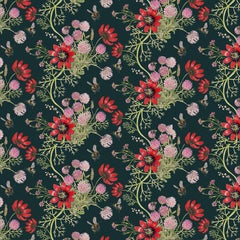 Mercia Bees in Deep Blue Botanical Wallpaper