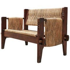 Mexican Bench in Oak and Rope, 1950s