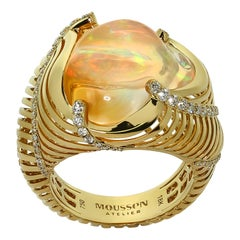 Mexican Fire Opal Diamonds White 18 Karat Yellow Gold Ring