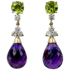 Michael Kneebone Amethyst Briolette Diamond Peridot Dangle Earrings