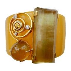 Michael Kneebone Bakelite Citrine Yellow Sapphire Diamond Cuff Bracelet