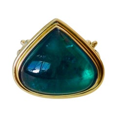 Michael Kneebone Indicolite Tourmaline Cabochon Diamond Cocktail Ring