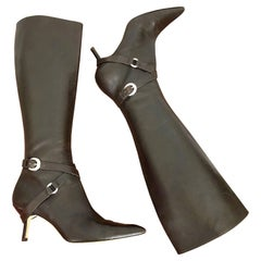 Michael Kors Collection Size 8 Chocolate Brown Leather High Heel Knee High Boots