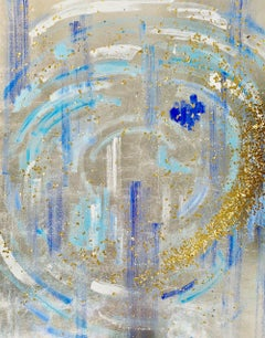 Silver & gold leaf oil painting, Michelle Sakhai, The High Priestess, II