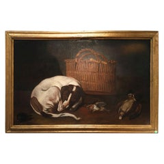 Mid-17th Century Norther Italy Oil on Canvas Little Dog with Basket